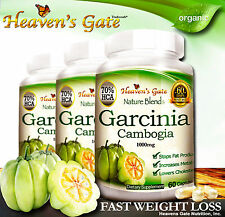 GARCINIA CAMBOGIA EXTRACT ORGANIC WEIGHT LOSS DIET 1000mg 100% PURE 3 BOTTLES
