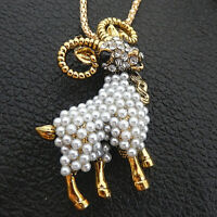 Betsey Johnson White Faux Pearls Crystal Goat Sheep Pendant Necklace/Brooch