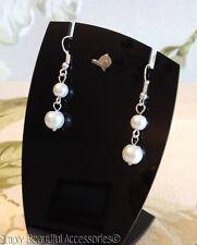 Chic Bridal White Glass Pearl Beads Dangle Pierced Earrings Wedding Bridesmaid