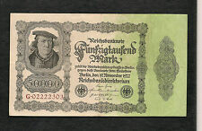 Germania Impero Tedesco banconota 50000 Marchi 19 Novembre 1922 VF+ WW1