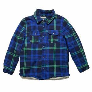 OshKosh Sherpa Lined Plaid Flannel Shirt Jacket Blue Green Toddler 5T