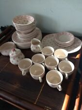 Vintage Petite Fleur Ironstone Dinnerware Set for 8, Johnson Bros. England