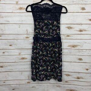 Free People Blue Lace Crochet High Neck Sleeveless Sheath Dress Size Small