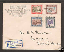 Samoa Sc 181-184 FDC. 1939 bicolors on Registered FDC