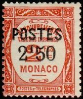 "MONACO N° 153 ""TIMBRES-TAXE SURCHARGE 2 F 50 SUR 2 F ""  NEUF xx TTB"