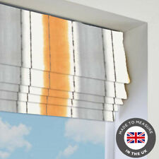 Orange Striped Patterned Roman Blind - Blackout - Made To Measure In The UK