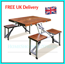 Folding Wooden Camping Table Portable Bench Set Outdoor Garden Picnic Chairs NEW