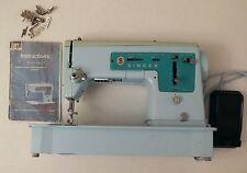 Vintage Singer model 347 blue sewing machine FOR PARTS 1966 1960s 60s extras VTG