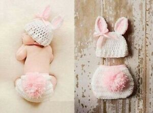 Newborn Baby Girl Boy Crochet Knit Costume Photo Photography Prop Hat Outfits