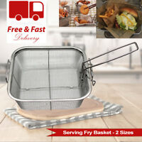 2 Frying Serving Baskets Burger Fries Kitchen Party Restaurant Fish Chips Crisp