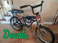 Vintage 1970's Huffy Thunder Road Bike AMF BMX bicycle, DECALS ONLY