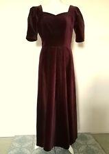 LAURA ASHLEY Vintage 80's DEEP RED COTTON BLEND VELVET BALLGOWN dress 12 38 NEW