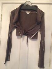 DKNY Brown Khaki Green Cotton Shrug Bolero Cardigan Size S
