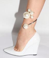 ZARA Woman White Leather Wedge Heels Size 37