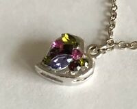 Vintage Style Multi Color Rhinestone Silver Tone Pendant Chain Necklace 16""