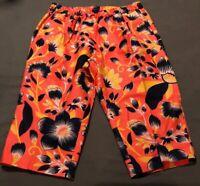 J. Crew Women's Linen/Cotton Blend Pull On Cropped Pants Orange Floral Size 12