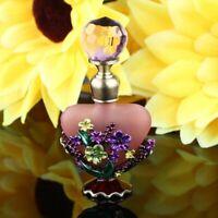 5ML Handmade Vintage Pink Flower Crystal Metal Perfume Bottle Wedding Empty Gift