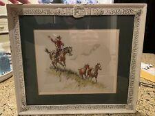 Vintage Stanley M. Long Framed Western, Cowboy Horse Print Art Belt Buckle Frame