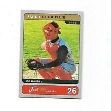 Joe Mauer SP Silver Parallel Rookie Card 2002 Just Minors Justifiable #26