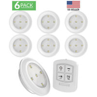 Sunco Lighting 6 Pack LED 4000K Puck Light with Remote Control, Cool White