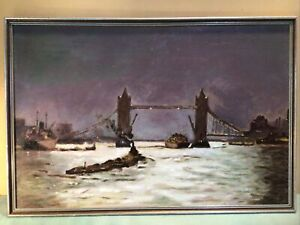 Bridge On The Thames Circa 1930s British Oil Painting