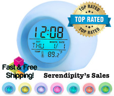 Kids  (7) Colors Changing LED Digital Round Alarm Clock w/Calendar & Thermometer