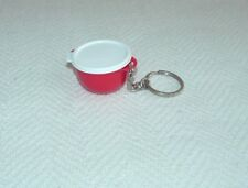 TUPPERWARE RED BOWL WITH WHITE LID KEYCHAIN - APPROX. 1 3/4 INCHES
