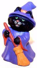 1991 Hallmark Cat Witch w/Broom&Green Eyes New Merry Miniature Halloween Qfm1677