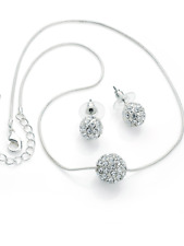 silver crystal ball chain necklace and earrings costume jewellery gift present