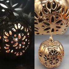 "Pumpkin Lighted LED Filigree Metallic Fall Decor Thanksgiving 8"" Bella Lux NEW"