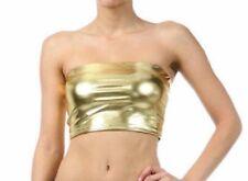 FANCY WET LOOK METALLIC PVC LYCRA SPANDEX TOP BANDEAU PARTY DANCER BOOB TUBE.SML