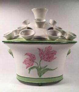 Vintage Mottahedeh Hand Decorated Tulipiere / Cachepot