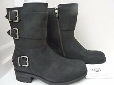 UGG Black Biker Style Ankle Boots - NEW £160 - water resistant - for UK size 3