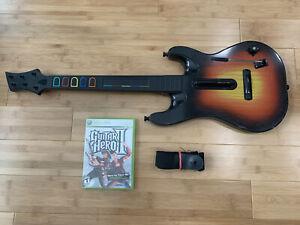 Xbox 360 Sunburst Orsnfe Guitar Hero Controller Bundle + Game Strap - Ships Fast