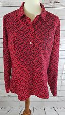 Dana Buchman Women's Red Button Down Geometric Print Blouse Shirt Top Sz XL