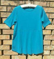 J Jill Blue Pima Shirttail Tee shirt Womens XS Top Short sleeve