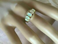 4CT Oval Cut Fire Opal & Diamond Art Deco Vintage Ring 14k Yellow Gold Finish