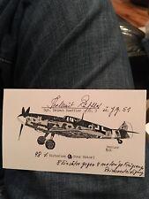 Luftwaffe ace Helmut Rueffler signed Me-109 postcard photo- 98 air to air kills