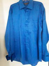 Men HENRI PICARD Blue Single Needle Tailoring French Cuff Dress Shirt Sz 17 1/2