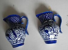 Wall pocket pair of Jugs/Urns Blue & White Ceramic Marked Malorca