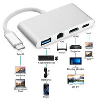 Typ C USB 3.1 USB 3.0 zu USB-C zu 4K HDMI Adapter 4 in 1 Hub für Laptop PC #O1