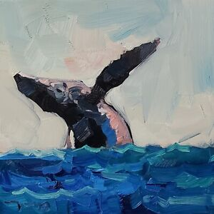 JOSE TRUJILLO Oil Painting IMPRESSIONISM WHALE OCEAN MARINE LIFE CONTEMPORARY