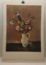 Vintage Lithograph Art Print Joseph Kutter Flowers