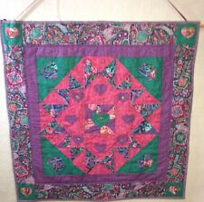 """Hearts on My Hearts Applique Quilt Wall Hanging 24"""" Fuchsia, Purple & Green"""
