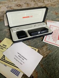 Vintage Minox EC Subminiature Spy Camera w Flash, Chain, Case, Manuals