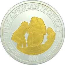 1 OZ  Silber Somalia Monkey Affe 2004 mit Goldapplikation gilded