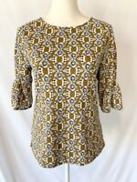 Ann Taylor Womens Tunic Top Blouse Size XS Brown Black Geometric 3/4 Bell Sleeve