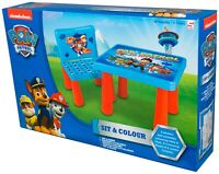 Paw Patrol Sit And Colour Art Desk Activity Kids Plastic Table And Chair Set