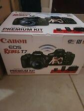 Canon EOS Rebel T7 Digital SLR Camera Premium Kit w/ 18-15mm 75-300mm & Bag