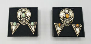German Silver & Turquoise / Tiger Bolo Tie w Collar Tip Set Cowboy Western Boxed